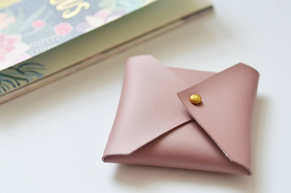 Vegan Leather Wallet Square Business Card Case Pink Business Card Case Vegan Leather Business Card Holder Business Card Case