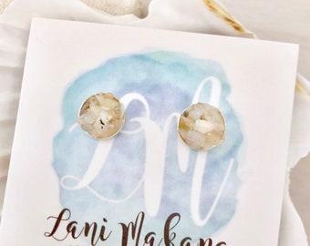 Opal Stud Earrings - Sterling Silver - Raw Opal Earrings - Stone Chip Earrings - White Opal Jewelry - White Stone Earrings