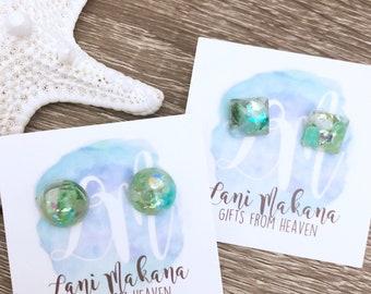 Resin Stud Earrings - Aventurine Stud Earrings - Raw Stone Earrings - Green Stud Earrings - Gemstone Stud Earrings - Stone Chip Earrings