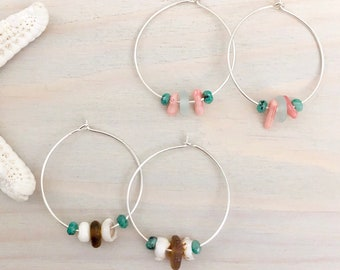 Sea Glass Hoop Earrings - Beach Hoop Earrings - Sterling Silver Hoop Earrings - Boho Hoop Earrings - Beach Glass Earrings