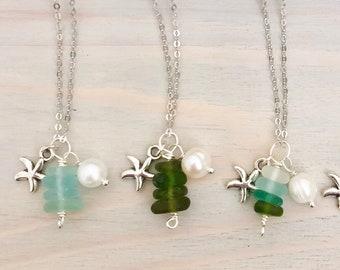 Sea Glass Charm Necklace - Beach Charm Necklace - Sea Glass Necklace - Sea Glass Jewelry - Beach Glass Necklace - Ocean Charm Necklace