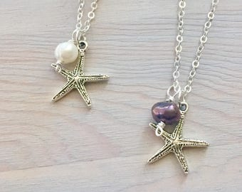 Starfish Necklace - Silver Starfish - Ocean Charm Necklace - Starfish Pendant - Black Pearl Necklace - Pearl Charm Necklace