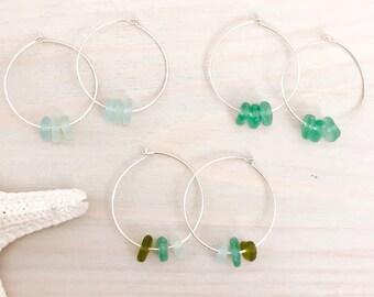 Sea Glass Hoop Earrings - Sterling Silver Hoop Earrings - Sea Glass Earrings - Beach Glass Hoop Earrings - Silver Sea Glass Earrings - Ombre