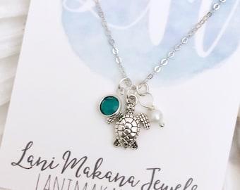 Ocean Charm Necklace - Sea Turtle Necklace - Beach Necklace - Tiny Charm Necklace - Sea Turtle Charm - Birthstone Necklace - Silver Necklace