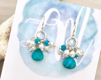 Turquoise and Pearl Earrings - Turquoise Drop Earrings - Gemstone Teardrop Earrings - Pearl Cluster Earrings - Turquoise Teardrop Earrings