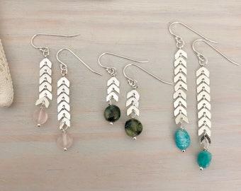 Gemstone Chain Earrings
