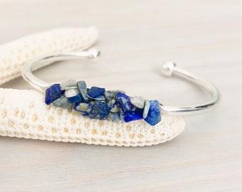 Lapis Lazuli Cuff Bracelet - Blue Stone Bracelet - Raw Stone Bracelet - Stone Chip Jewelry - Raw Stone Jewelry - Blue Stone Jewelry