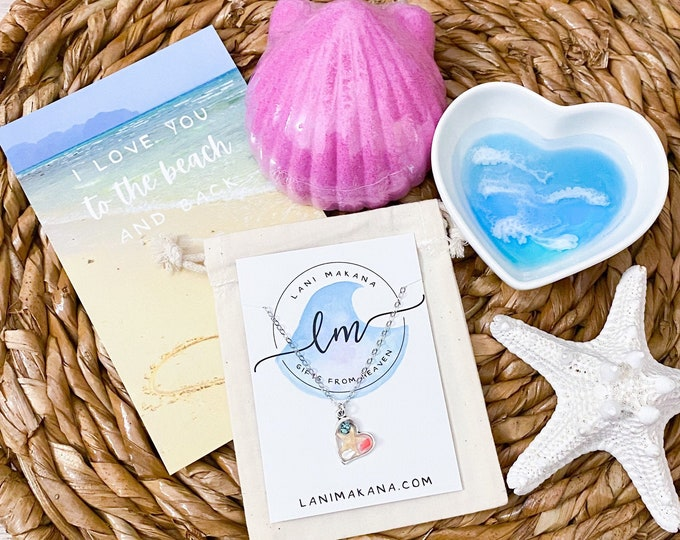 Featured listing image: Beach Valentine Gift Box - Resin Heart Ring Bowl & Heart Mosaic Necklace - Beach Heart Gift Set - Coastal Jewelry Gift Set - Beach Lover