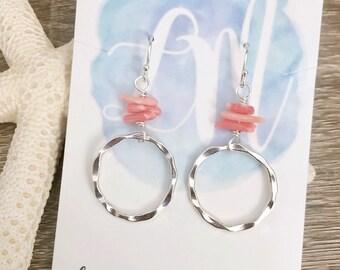 Beach Hoop Earrings - Hammered Hoop Earrings - Sterling Silver Hoop Earrings - Coral Earrings - Seashell Hoop Earrings - Beach Earrings