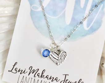 Angel Wing Necklace - Angel Baby Charm Necklace - Baby Birthstone Necklace - Heart Charm Necklace - Memorial Necklace -Personalized Necklace