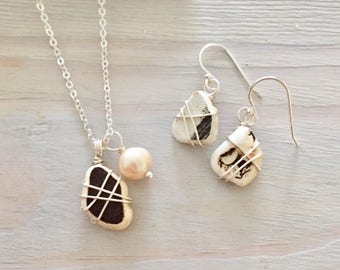 Brown Sea Pottery Necklace - Jewelry Gift Set - Sea Pottery Earrings - Beach Jewelry Set - Beach Gift Set - Beach Pottery Jewelry