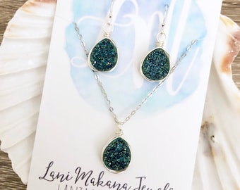 Druzy Jewelry Set - Blue Necklace Earring Set - Blue Bridesmaid Jewelry - Blue Wedding Jewelry - Bridesmaid Gift Jewelry - Blue Druzy