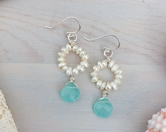 Pearl & Gemstone Mini Hoop Earrings