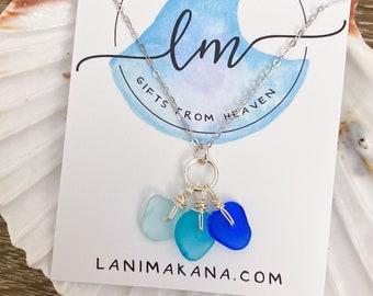 Sea Glass Trio Necklace - Beach Glass Necklace - Sea Glass Jewelry - Mini Seaglass Necklace