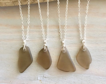 Grey Sea Glass Necklace - Beach Glass Necklace - Sea Glass Jewelry - Genuine Sea Glass - Brown Sea Glass - Natural Sea Glass JEwelry