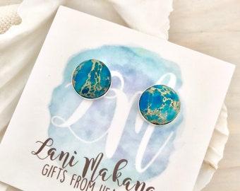 Blue Stone Stud Earrings - Beach Stud Earrings - Ocean Stud Earrings - Ocean Jasper Jewelry - Sea Sediment Jasper Earrings