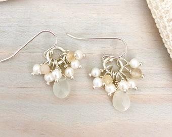 Moonstone Drop Earrings - White Gemstone Earrings - Pearl Cluster Earrings - Freshwater Pearl Cluster Earrings - Moonstone and Pearl Earring