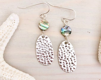 Hammered Silver Earrings - Beach Statement Earrings - Abalone Shell Earrings - Silver Statement Earrings - Sterling Silver - Paua Shell