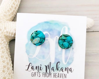 Turquoise Stud Earrings - Raw Stone Earrings - Stone Stud Earrings - Genuine Turquoise Jewelry - Real Turquoise - Sterling Silver Studs