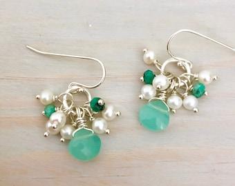 Aqua Chalcedony - Chalcedony Teardrop Earrings - Pearl Cluster Earrings - Gemstone Teardrop Earrings - Aqua Stone Earrings - Sterling Silver