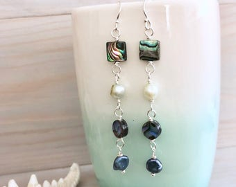 Abalone Earrings - Freshwater Pearl and Abalone - Boho Beach Earrings - Beach Statement Earrings - Abalone Shell Earrings - Sterling Silver