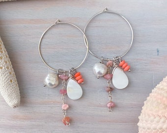Pink Gemstone Hoop Earrings - Sterling Silver Hoop Earrings - Beach Hoop Earrings - Pearl Hoop Earrings