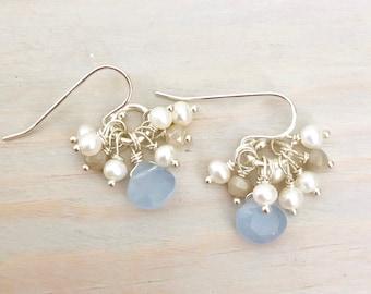 Blue Chalcedony - Pearl Cluster Earrings - Chalcedony Teardrop Earrings - Gemstone Teardrop Earrings - Blue Stone Earrings - Sterling Silver