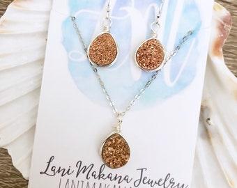 Rose Gold Druzy Set - Bridesmaid Jewelry Set - Natural Druzy - Rose Gold Necklace Earring Set - Bridesmaid Gift Jewelry -Genuine Druzy Stone