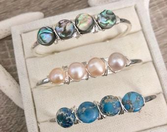 Beach Cuff Bracelet - Blue Stone Bracelet - Freshwater Pearl Bracelet - Abalone Shell Cuff - Beaded Cuff Bracelet - Pearl Cuff
