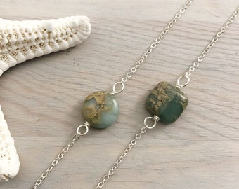 Beach Stone Necklace - Boho Stone Necklace - Sterling Silver Stone Necklace - Beach Boho - Jasper Stone Necklace - Sea Sediment Jasper