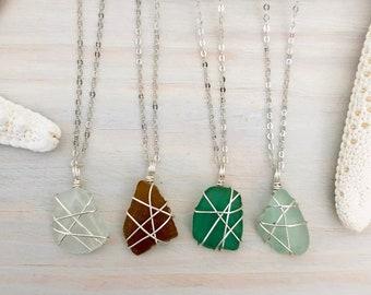 Sea Glass Necklace - Genuine Sea Glass - Wire Wrapped Sea Glass - Aqua Sea Glass - Beach Glass Pendant - Real Sea Glass - Sterling Silver