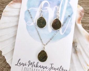 Druzy Jewelry Set - Bridesmaid Jewelry Set - Necklace Earring Set - Druzy Wedding Jewelry - Bridesmaid Gift Jewelry - Sterling Silver