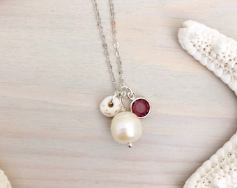 Pearl Charm Necklace - Freshwater Pearl Necklace - Sterling Silver Pearl Necklace - Birthstone Necklace -Beach Charm Necklace -Ocean Jewelry