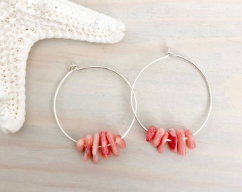 Beach Hoop Earrings - Sterling Silver Hoop Earrings - Coral Earrings - Silver Shell Earrings - Seashell Hoop Earrings - Beach Earrings