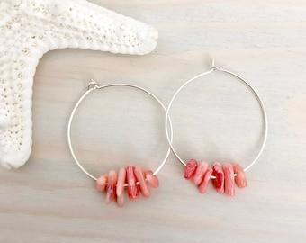 Beach Hoop Earrings - Sterling Silver Hoop Earrings - Coral Earrings - Silver Shell Earrings - Seashell Hoop Earrings - Beach Earrings