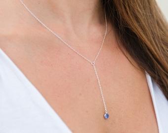 Birthstone Lariat Necklace - Simple Birthstone Necklace - Sterling Silver - Swarovski Stone Necklace - Long Lariat Necklace - Y Necklace