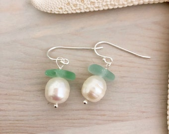 Sea Glass and Pearl Earrings - Beach Wedding Earrings - White Pearl Earrings - Beach Glass Earrings - Seaglass Jewelry - Beach Earrings