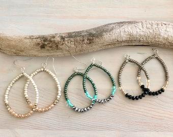 Boho Hoop Earrings - Boho Earrings - Teardrop Hoop Earrings - Bohemian Jewelry - Beaded Hoop Earrings - Seed Bead Hoop Earrings