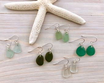 Sea Glass Earrings - Beach Glass Earrings - Seaglass Jewelry - Seaglass Dangle Earrings - Beach Earrings - Aqua Sea Glass -Genuine Sea Glass