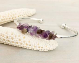 Amethyst Cuff Bracelet - Purple Stone Bracelet - Raw Stone Bracelet - Stone Chip Jewelry - Raw Stone Jewelry - Amethyst Jewelry