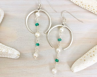 Pearl and Turquoise Statement Earrings - Silver Crescent Earrings - Beach Statement Earrings - Silver Statement Earrings - Crescent Earrings
