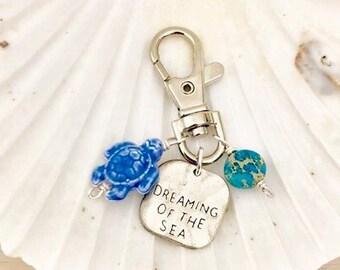 Beach Keychain - Dreaming of the Sea - Stamped Beach Keychain - Beaded Purse Charm - Sea Turtle Keychain - Summer Keychain - Hawaii Keychain