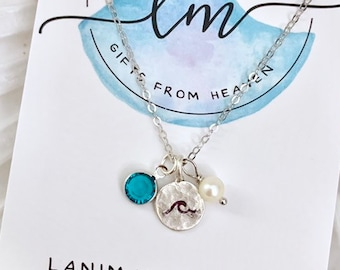 Beach Charm Necklace - Birthstone Necklace - Tiny Charm Necklace - Dainty Wave Necklace - Silver Wave Necklace - Sterling Silver