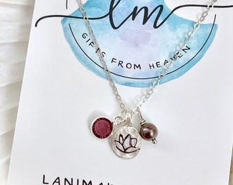 Stamped Lotus Flower Necklace - Yoga Necklace - Stamped Charm Necklace - Yoga Jewelry - Lotus Charm Necklace - Stamped Flower Necklace