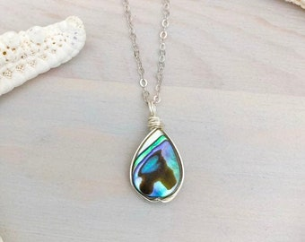 Abalone Shell Necklace - Abalone Shell - Beach Necklace - Ocean Jewelry - Paua Shell Jewelry - Shell Necklace - Sterling Silver Necklace
