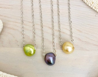 Colorful Floating Pearl Necklace - Freshwater Pearl Necklace - Dainty Pearl Necklace - Sterling Silver Pearl Jewelry -Pearl Wedding Necklace