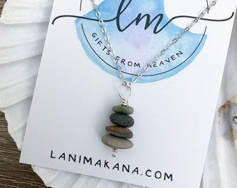 Beach stone necklace - Cairn necklace - Hiking Jewelry - Pebble Necklace - Nature Jewelry - Natural Stone Necklace - Beach Pebble Pendant