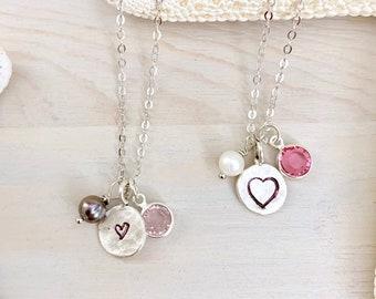 Heart Charm Necklace - Valentine Necklace - Tiny Charm Necklace - Dainty Heart Necklace - Silver Heart Necklace - Sterling Silver