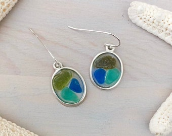 Sea Glass Mosaic Earrings - Beach Glass Earrings - Seaglass Jewelry - Seaglass Dangle Earrings - Multi-Color Sea Glass - Genuine Sea Glass