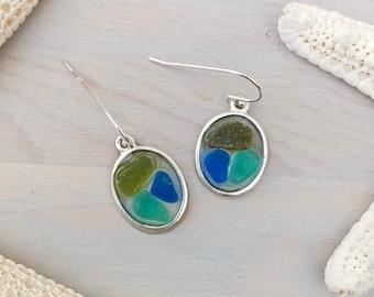 Sea Glass Mosaic Earrings - Beach Glass Earrings - Seaglass Jewelry - Seaglass Dangle Earrings - Multi-Color Sea Glass - Genuine Sea Glass